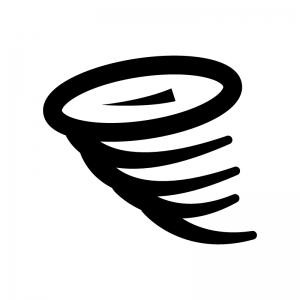 竜巻の白黒シルエットイラスト02