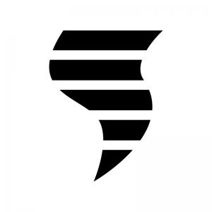 竜巻の白黒シルエットイラスト03