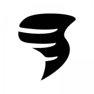 竜巻の白黒シルエットイラスト04
