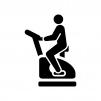 エアロバイクで運動する人の白黒シルエットイラスト