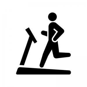 ルームランナーで運動する人の白黒シルエットイラスト