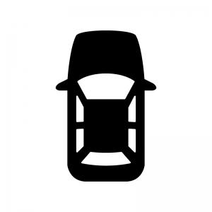 上から見た自動車の白黒シルエットイラスト