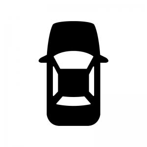 上から見た自動車の白黒シルエットイラスト02