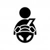 車の運転・ドライバーの白黒シルエットイラスト
