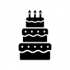 ウェディングケーキの白黒シルエットイラスト