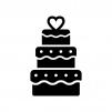 ウェディングケーキの白黒シルエットイラスト02