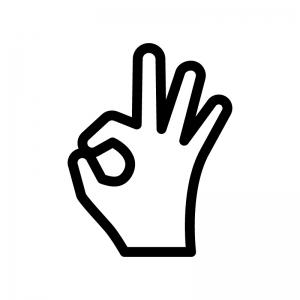指でOKの白黒シルエットイラスト02