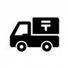 郵便配達トラックの白黒シルエットイラスト