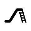 滑り台の白黒シルエットイラスト