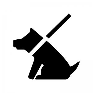お座りしている犬の白黒シルエットイラスト02
