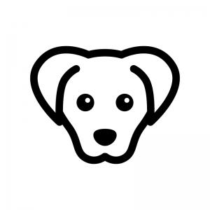 犬の白黒シルエットイラスト02