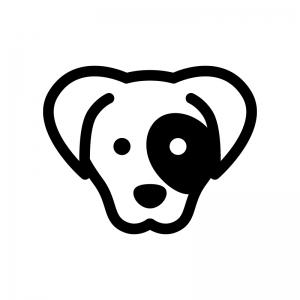 犬の白黒シルエットイラスト03