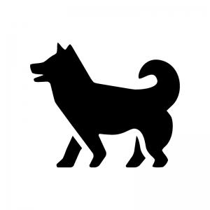 犬の白黒シルエットイラスト06
