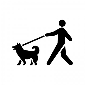 犬の散歩の白黒シルエットイラスト03