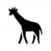 キリンの白黒シルエットイラスト