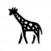キリンの白黒シルエットイラスト02