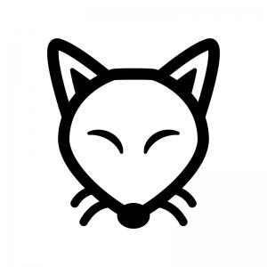 キツネの白黒シルエットイラスト