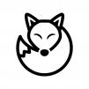 キツネの白黒シルエットイラスト02