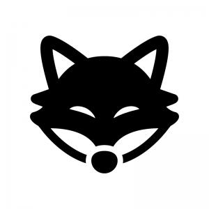 キツネの白黒シルエットイラスト03
