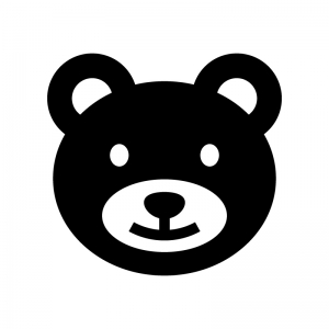 クマの白黒シルエットイラスト