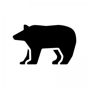 クマの白黒シルエットイラスト02