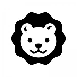 ライオンの白黒シルエットイラスト