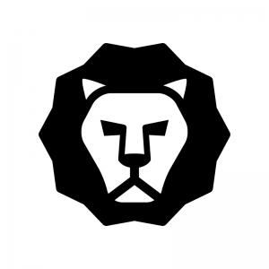 ライオンの白黒シルエットイラスト02