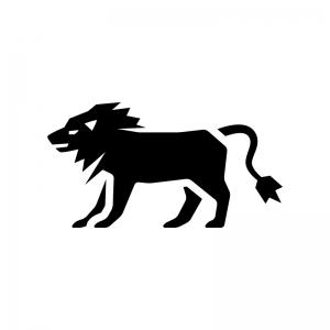 ライオンの白黒シルエットイラスト03