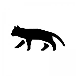 猫の白黒シルエットイラスト