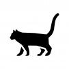 猫の白黒シルエットイラスト02