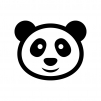 パンダの白黒シルエットイラスト