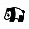 パンダの白黒シルエットイラスト02