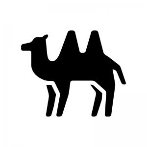 ラクダの白黒シルエットイラスト