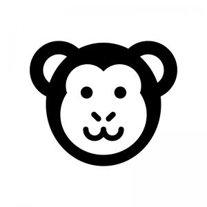 サルの白黒シルエットイラスト