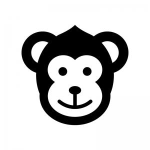 サルの白黒シルエットイラスト02