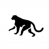 サルの白黒シルエットイラスト03