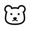 白クマの白黒シルエットイラスト