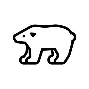 白クマの白黒シルエットイラスト02