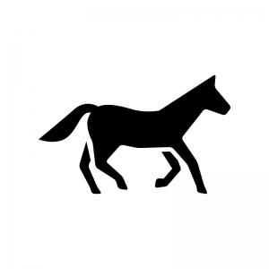 馬・サラブレッドの白黒シルエットイラスト05
