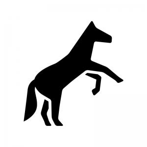 馬・サラブレッドの白黒シルエットイラスト06