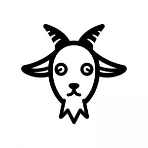 山羊の白黒シルエットイラスト