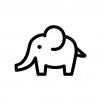 ゾウの白黒シルエットイラスト