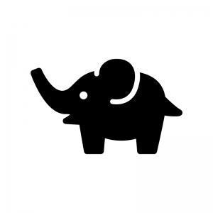 ゾウの白黒シルエットイラスト02