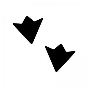 鳥の足跡の白黒シルエットイラスト02