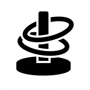 輪投げの白黒シルエットイラスト
