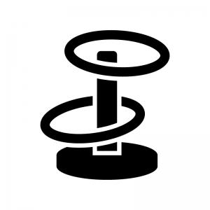輪投げの白黒シルエットイラスト02