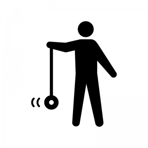 ヨーヨーで遊ぶ人の白黒シルエットイラスト