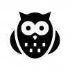 フクロウの白黒シルエットイラスト