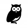 フクロウの白黒シルエットイラスト02