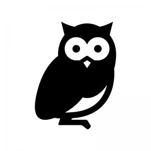 フクロウのシルエット02 無料のaipng白黒シルエットイラスト